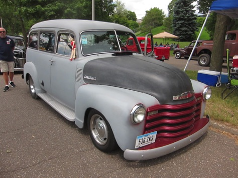48 Chevy Suburban-Terry Lampe drove this car because his 41 DeSoto was broken - we let him park by us