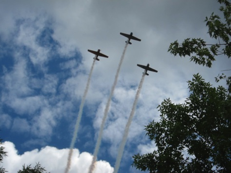 Saturday - WWII plane flyover You can hear those radial engines miles off