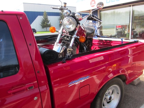 To easily get the Goldwing into the pickup bed - bike going to their son-in-law