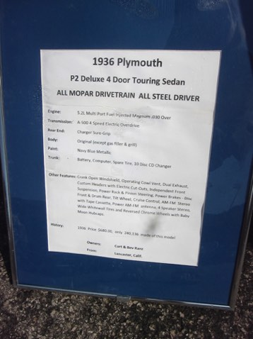 Signage for the '36 Plymouth