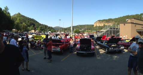 Panoramic view of cars